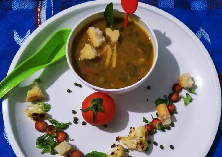 Green gram beans and veggies soup