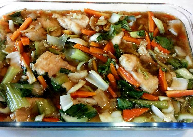 Easiest Way to Make Award-winning Dory fillets and vegetables in soy-oyster sauce