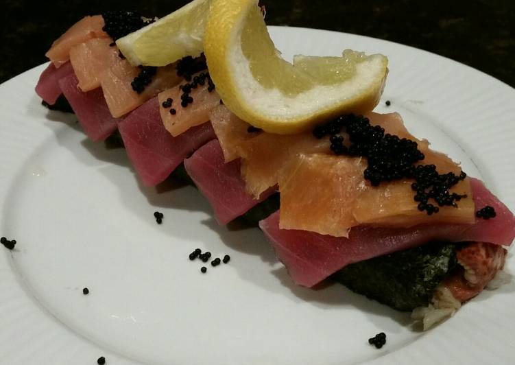 Brad's lobster, ahi tuna, and smoked salmon sushi roll
