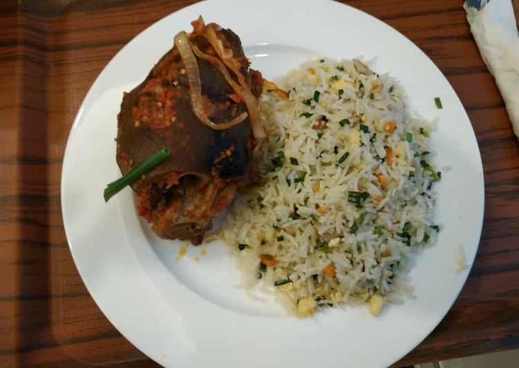 How to Prepare Quick Stir fry rice and goat meat