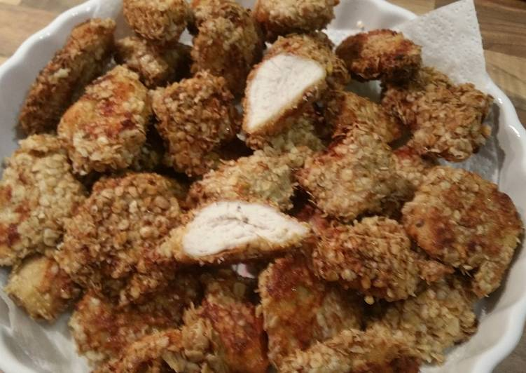 Oven baked oatmeal chicken nuggets