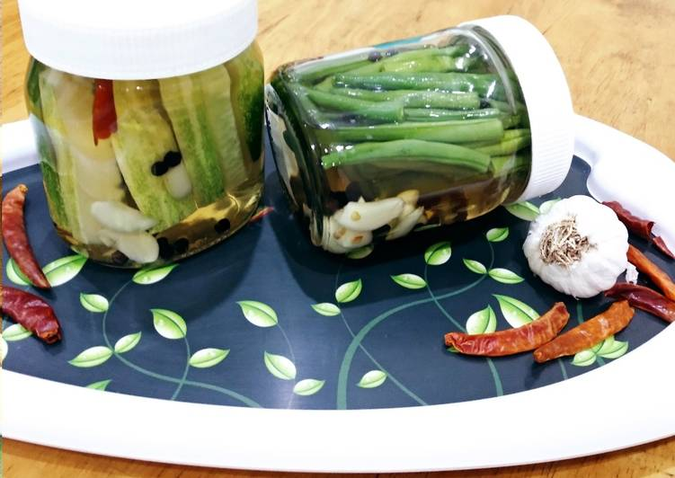 Recipe of Favorite Pickled Green beans and Cucumbers