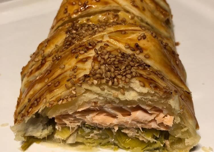 Feuilleté tresse saumon / poireaux