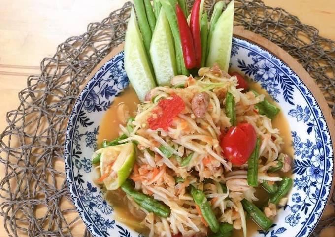 Thai Green Papaya Salad Recipe • SomTam Salad Sauce Recipe   ThaiChef food