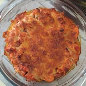 Lasaña de patata, verduras y pollo estilo fajita
