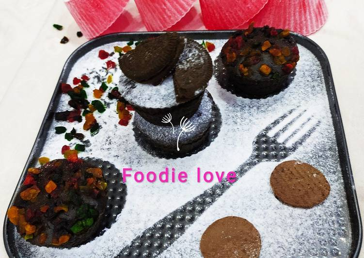 How to Make Favorite Dark chocolate Oreo fudge muffin