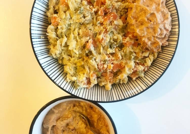 Étapes pour faire Parfait Pâtes sauce crémeuse, petits légumes et pesto rosso 🍅🥣🌱