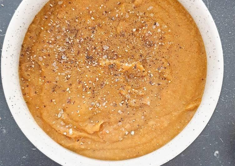 Soupe de lentille et potimarron rôti