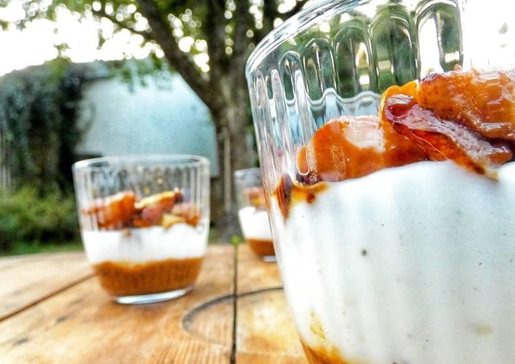 Verrines poire, prune, vanille