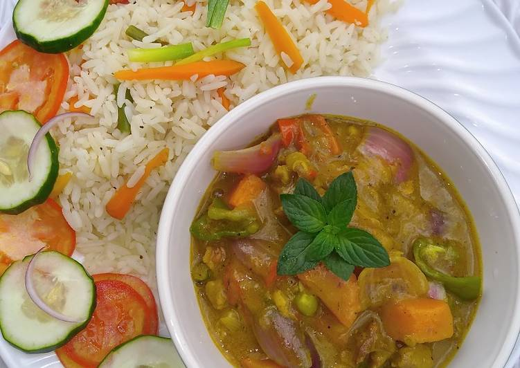 Coconut rice and lamb curry