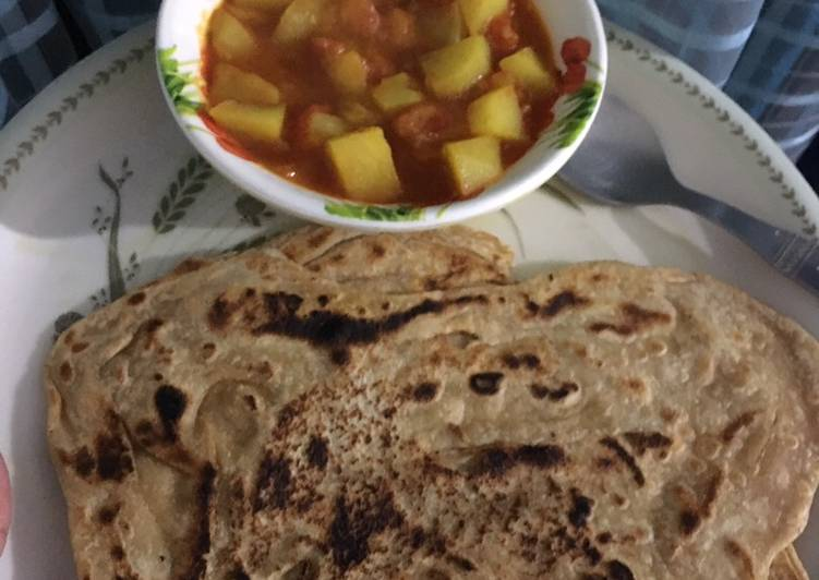Simple Way to Make Any-night-of-the-week Aloo tomato with parantha