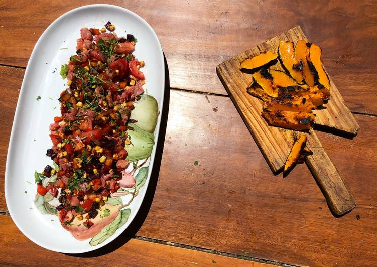 Steps to Prepare Homemade Fresh trout tartare with grilled squash