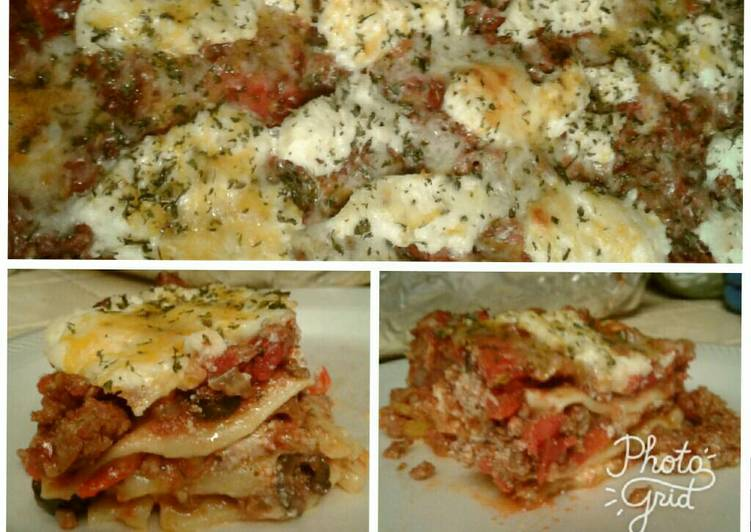 Four cheese & meat lasagna