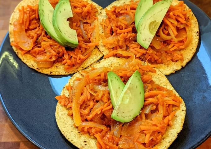 Carrot tinga tostadas (vegan)