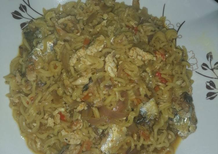 5 Minute Step-by-Step Guide to Prepare Special Cooked indomie with sardines and scrambled egg