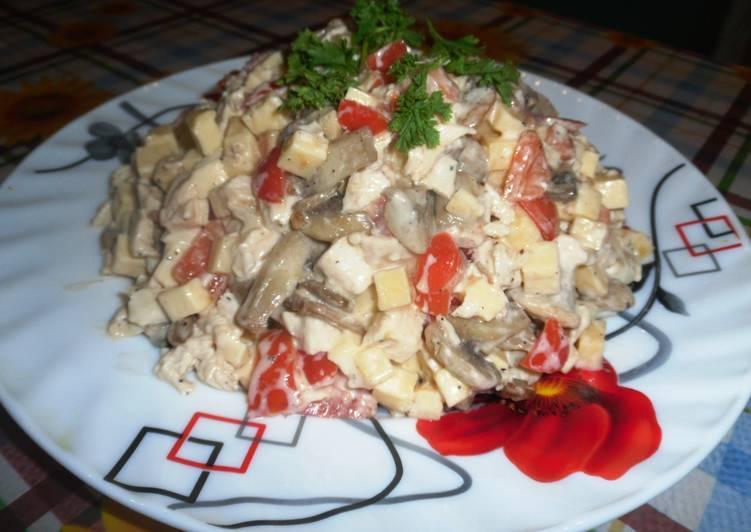 рецепт салата курица с помидорами и сыром