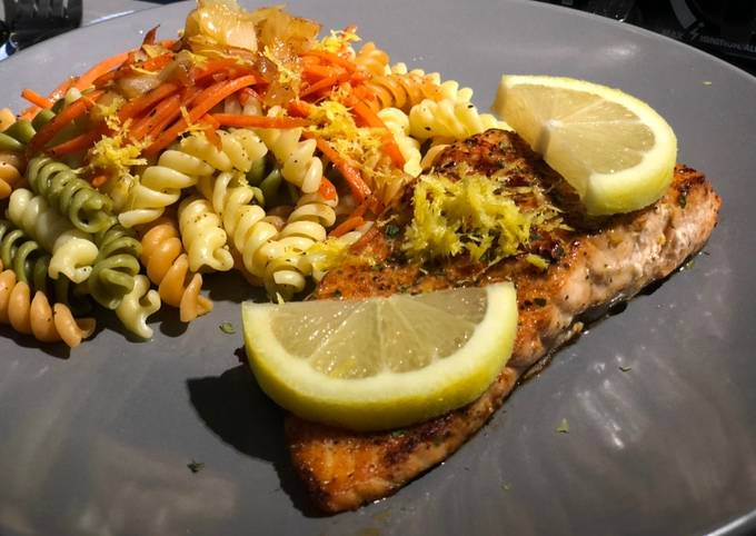 How to Make Perfect Spicy Salmon w/ Lemon Pepper Pasta