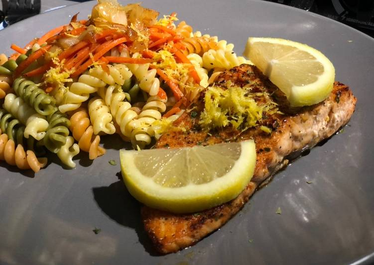 Recipe of Any-night-of-the-week Spicy Salmon w/ Lemon Pepper Pasta