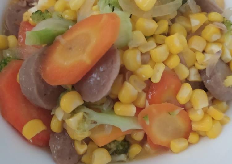 Capcay jagung bakso brokoli