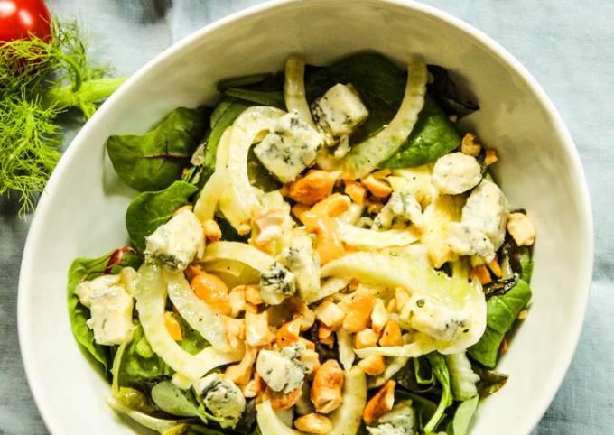 Fennel Lettuce Cashew Salad with Lemon Honey Dressing