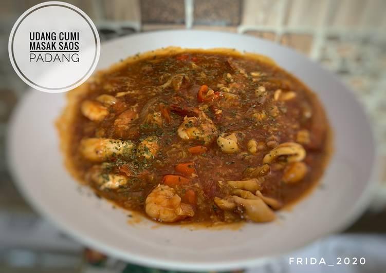 Udang-cumi masak saos Padang