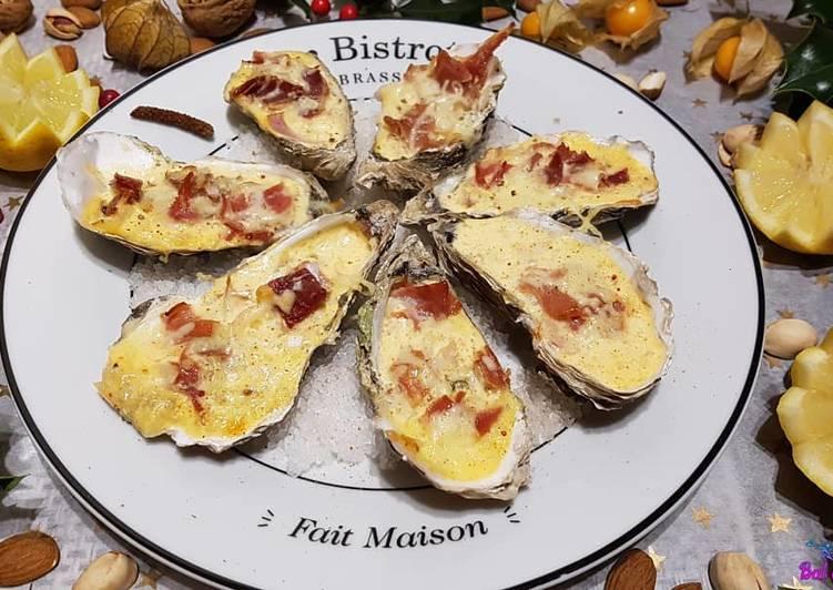 Huîtres chaudes au jambon de Bayonne et à la crème mousseuse au piment d'Espelette