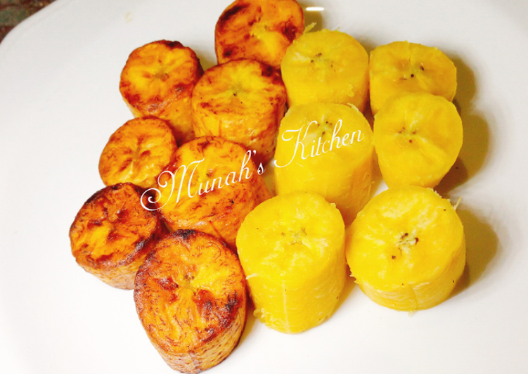 Boiled and fried plantain