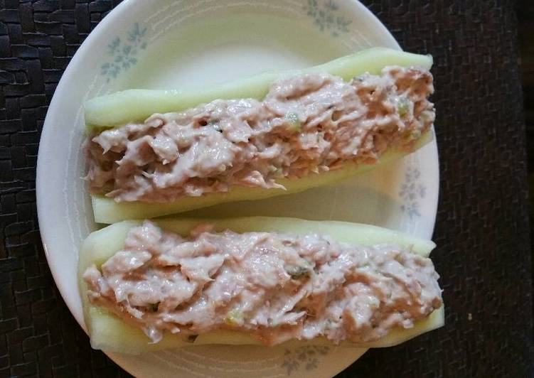Recipe: Appetizing Cucumber Tuna Boats