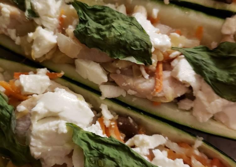 Simple Way to Prepare Quick Tricia's Chicken Zucchini Boats
