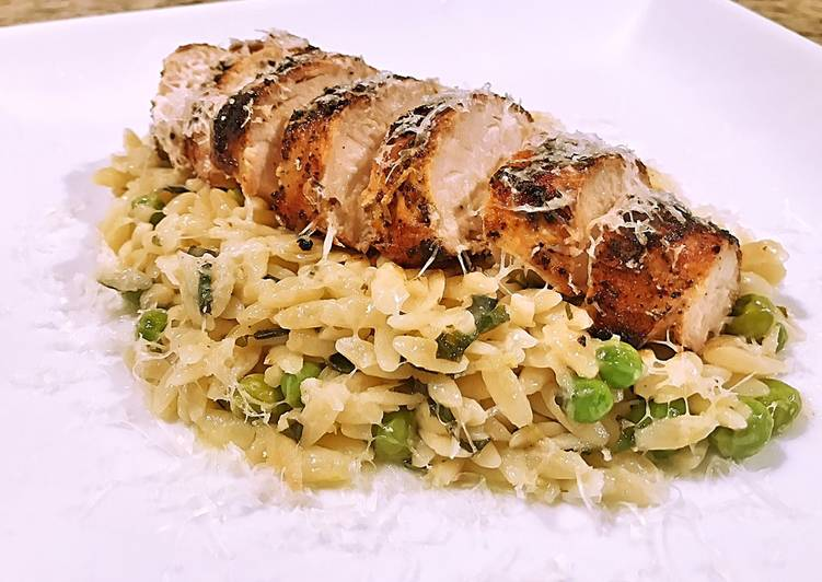 The Best Soft and Chewy Dinner Easy Summer Lemon Garlic Basil Orzo with Grilled Chicken