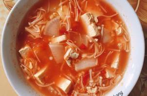 Canh nấm kim châm đậu phụ (eatclean)