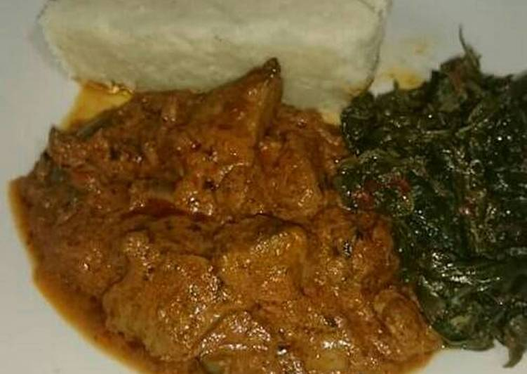 Recipe of Perfect Ugali beef stew and managu