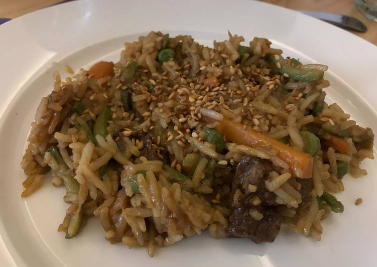 Easiest Way to Prepare Quick Fried rice with veggies and meat