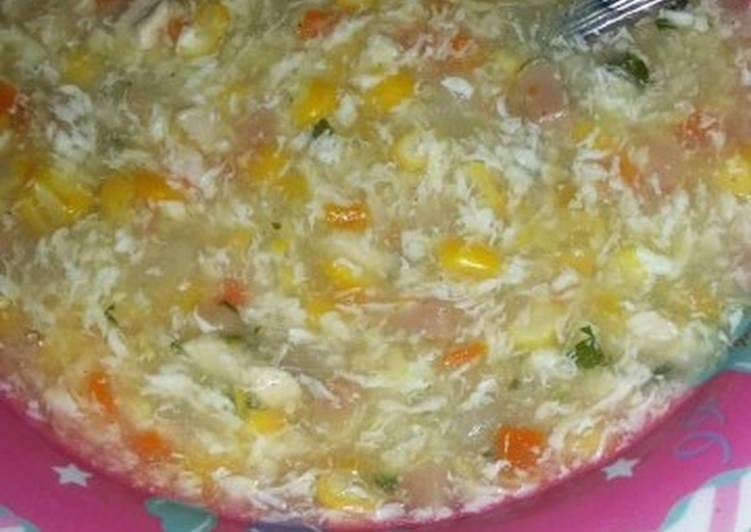Resep Soup jagung sosis Yang Simple Enak