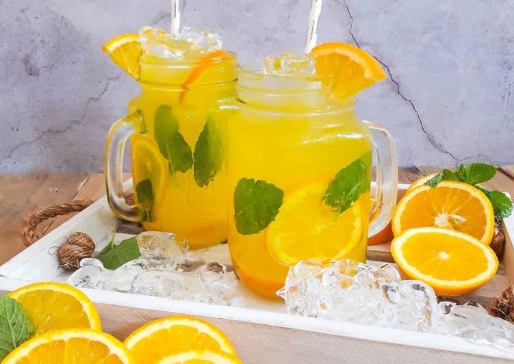 Fresh Oren Pudina          #Maratonraya              #minuman#minggu2 - resepipouler.com