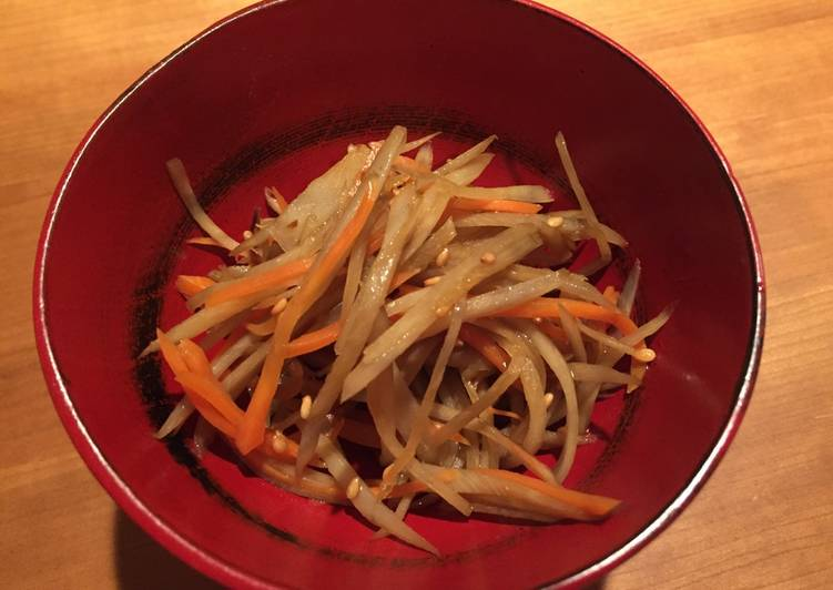 Very easy and simple Kinpira Gobo (Burdock) & Carrot, Gluten Free