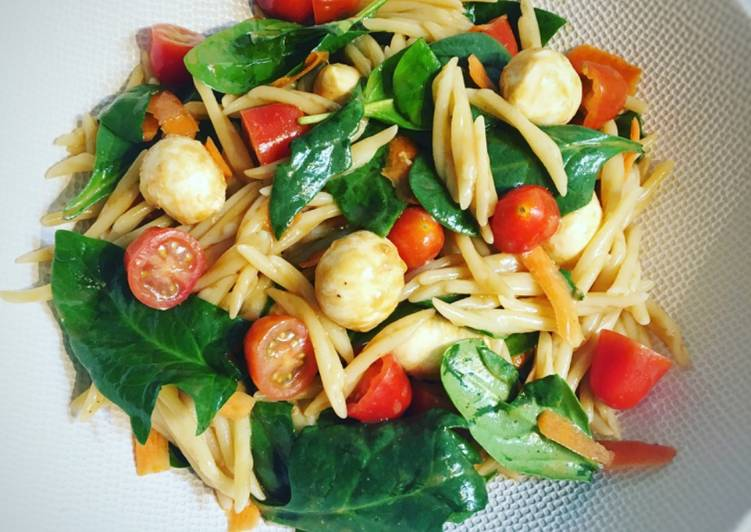 Salade de pâtes aux épinards carotte tomate & mozzarella