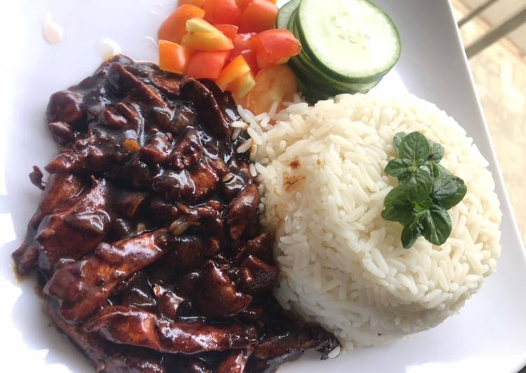 Recipe of Perfect Mint rice and teriyaki sauce