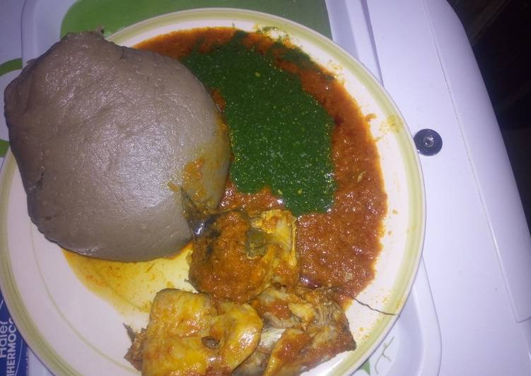 Amala, ewedu& catfish stew