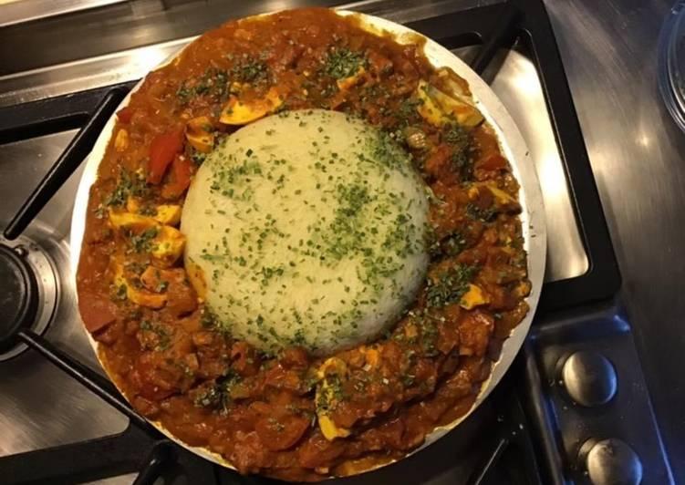 Recettes Carri d œufs et son dôme de riz blanc