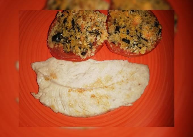 Petto di pollo con pomodori gratinati