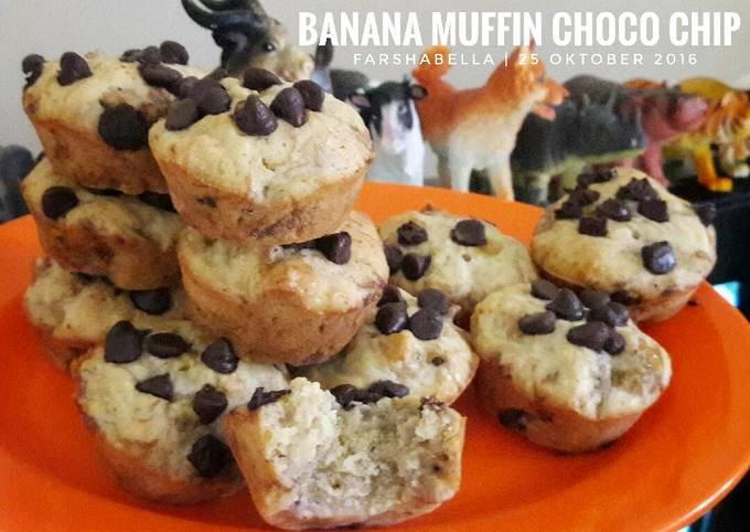 Resep Muffin Banana Choco Chip Tanpa Pengembang No Bp No Bs Oleh Mamii Bella Cookpad