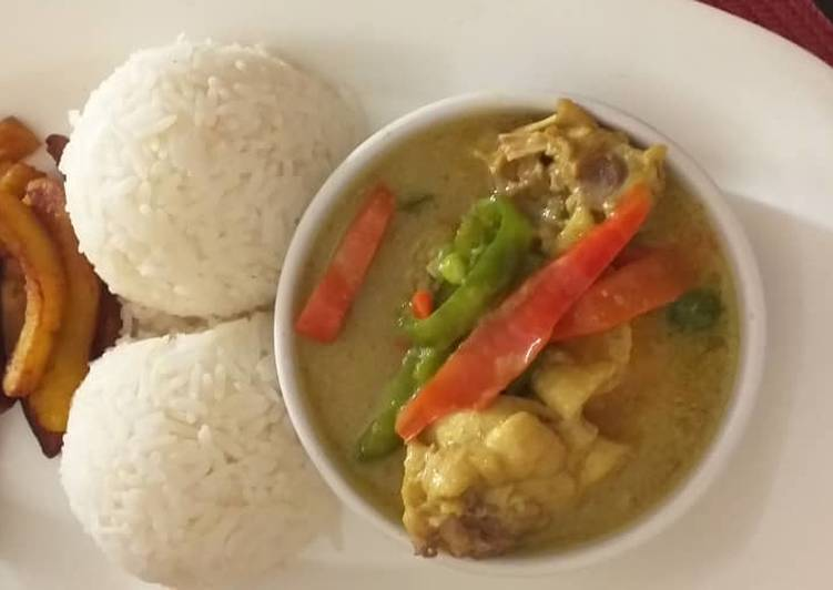 Easiest Way to Make Tasty Chicken curry sauce with rice and fried plantain