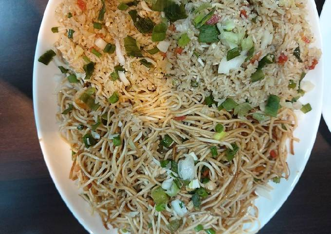 Chicken noodles and fried rice