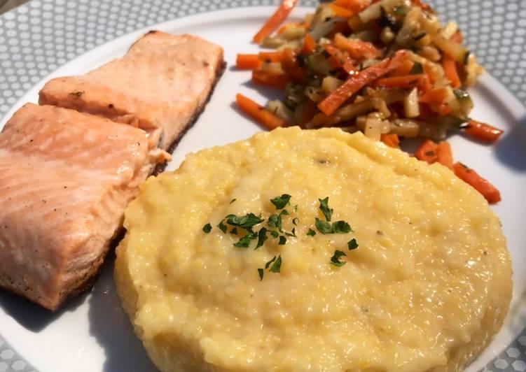 Saumon et polenta parmesan aux petits légumes grillés