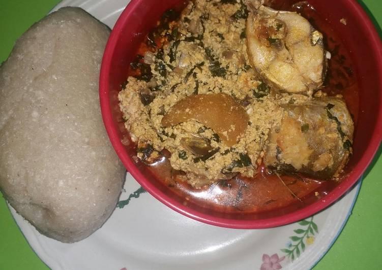 Easiest Way to Make Super Quick Homemade Egusi soup with mackerel & kpanla fish