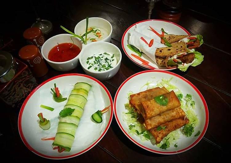 Rajma Tikki Kathi Rolls,Cucumber Veggie Rolls, Soya spring Rolls with Chili Paneer Noodles