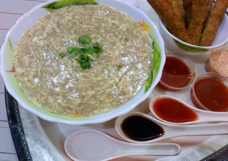 Chicken soup with chicken sticks