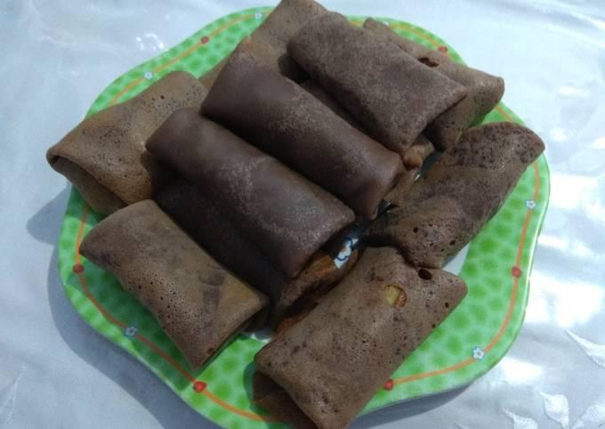 Resep Dadar gulung coklat pisang madu Anti Gagal