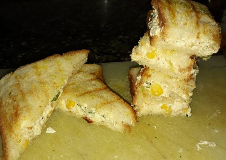 Simple Way to Make Ultimate Curd paneer and corn sandwich